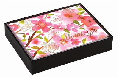 Cherry blossoms luxe thank you notes