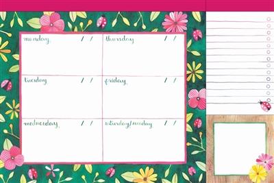 In the garden desk jotter: weekly calendar + list pad