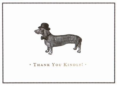 Dapper dachshund luxe thank you notes: 10 notecards + envelopes