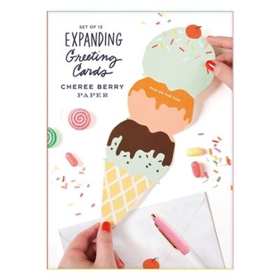 Expanding greeting card set: 12 die-cut notecards + envelopes