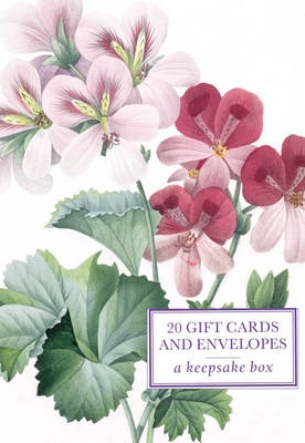 Redoute geranium: tin box of 20 gift cards and envelopes