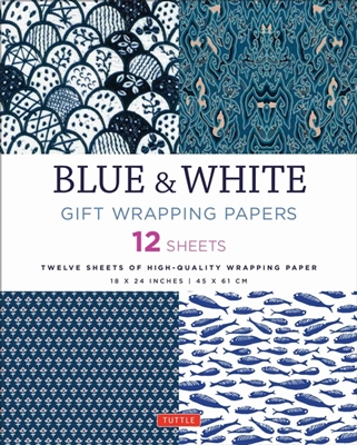 Blue & white gift wrapping papers: 12 sheets