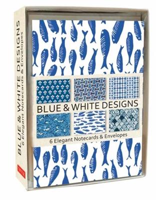 Blue & white designs 6 notecards & envelopes