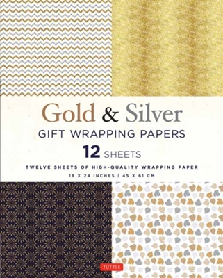 Silver and gold gift wrapping papers - 12 sheets