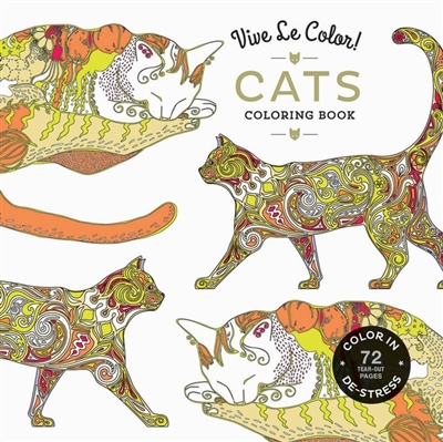 Vive le color! cats (adult coloring book)