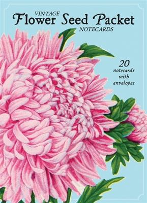 Vintage flower seed package notecards: 16 cards + envelopes