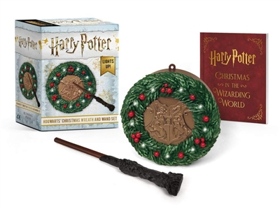 Running press mini kits Harry potter hogwarts christmas wreath and wand set: lights up!